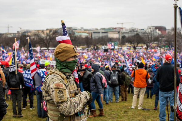 Protesters converged onto the National Mall outside the Washington Monument waiting for President Trump to speak last week.