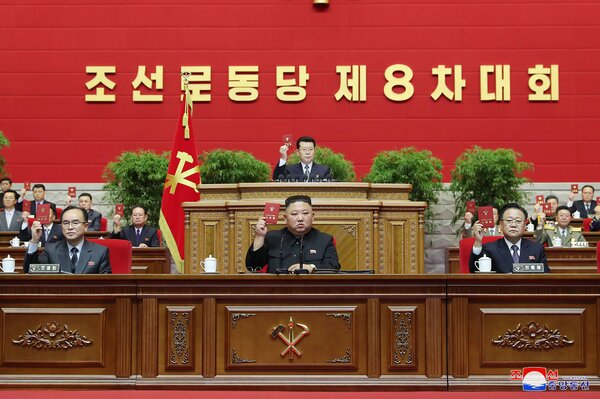 North Korean state media released this photo of Kim Jong-un and other officials, said to have been taken on Tuesday, the last day of the Workers' Party congress.