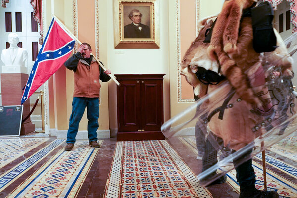Kevin Seefried has been identified as having carried a Confederate flag into the Capitol during the siege last week.