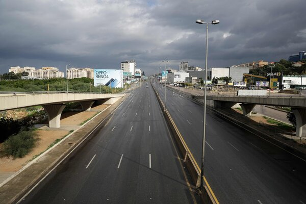 A usually busy highway near Lebanon's capital, Beirut, on Thursday as the country entered its first day of a strict lockdown.