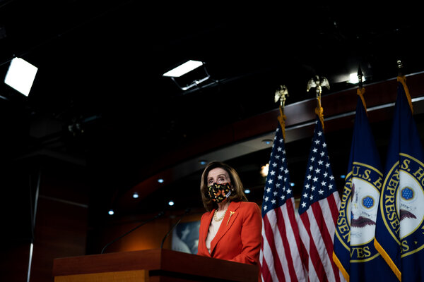 Speaker Nancy Pelosi at her weekly news conference at the Capitol on Friday.