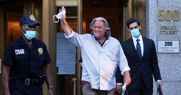 With hours left in office, Trump pardons Bannon.