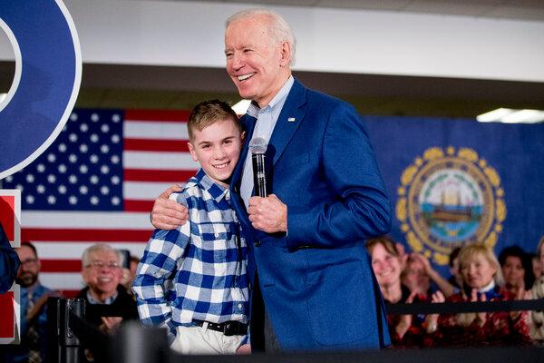 Joseph R. Biden Jr. hugging Brayden Harrington at a campaign stop in Gilford, N.H., last year.