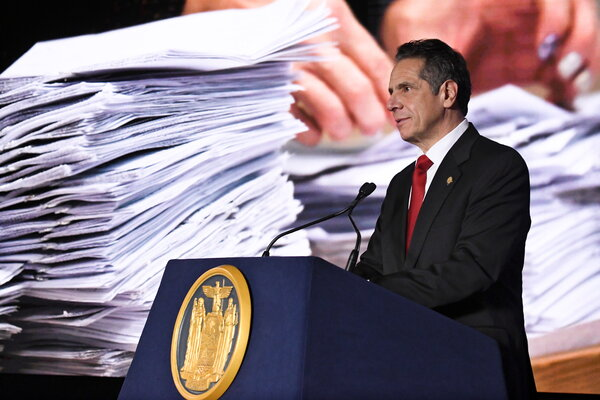 Gov. Andrew M. Cuomo of New York, unveiling a budget proposal, said the state was facing a  billion shortfall.
