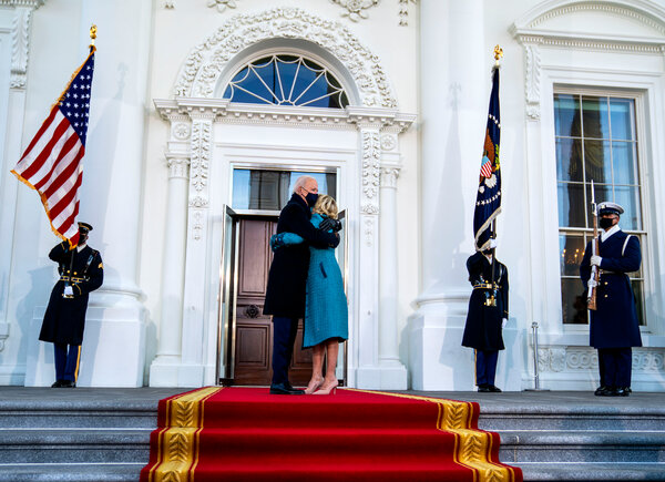 President Biden hugging the first lady, Jill Biden, at the White House.
