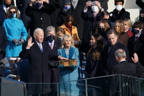 President Biden being sworn in as the 46th president of the United States.