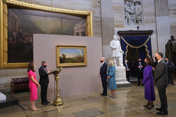 "The inaugural painting, ""Landscape with Rainbow"" by Robert S. Duncanson, was displayed in the Capitol Rotunda."