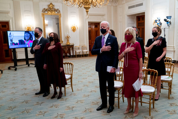 President Biden, Vice President Kamala Harris and their spouses watched the virtual Presidential Inaugural Prayer Service at the White House on Thursday.