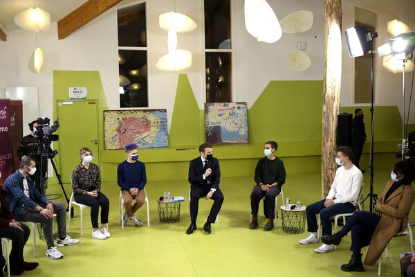 President Emmanuel Macron of France met with students at the University of Paris-Saclay on Thursday. Students are frustrated with restrictions on in-person classes.