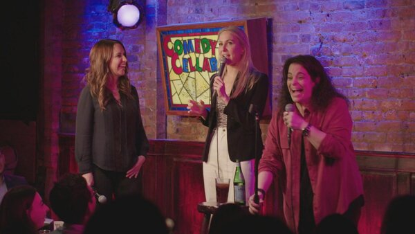 "From left, Rachel Feinstein, Nikki Glaser and Jessica Kirson in a scene from ""Hysterical,"" which debuts at SXSW in March. In the meantime, you can catch Feinstein and Kirson in ""We're Not Okay Comedy Show"" on Zoom on Sunday."