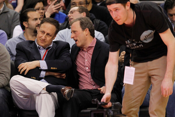 Adam Aron, left, was the chief executive of the Philadelphia 76ers, among other jobs, before he entered the movie theater business.
