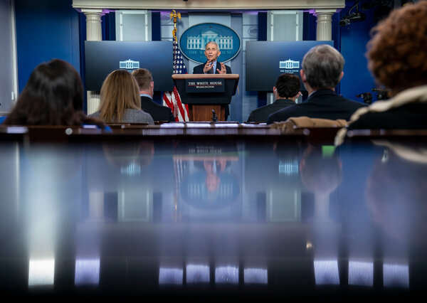 """Dr. Anthony Fauci, in the White House briefing room on Thursday, described the pandemic as""""historic, in the very bad sense."""""""
