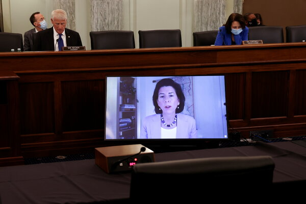 Gov. Gina Raimondo testifies before the Senate Commerce Committee on Tuesday.