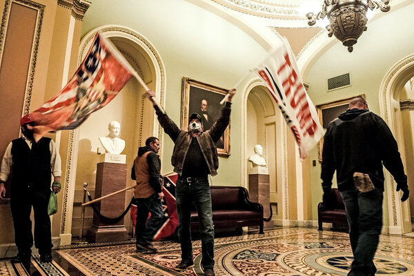 Rioters breaching the Capitol building on Jan. 6.