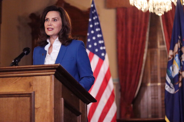 Gov. Gretchen Whitmer of Michigan spoke to state lawmakers on Wednesday night in Lansing, in a virtual State of the State address seen here in a photograph provided by the governor's office.