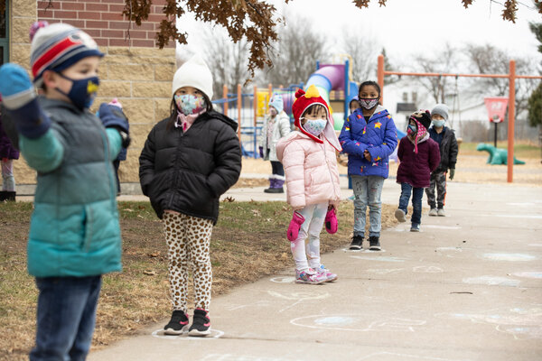 Elementary students in Wausau, Wis. A study from the Centers for Disease Control and Prevention in one rural Wisconsin county showed that the rate of transmission in Wood County schools was well below the county's rate of infection.