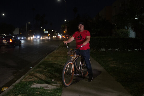 Pedro Hernandez has opted to ride a bicycle to work instead of driving his car because he feels it decreases his chances of running into the police.