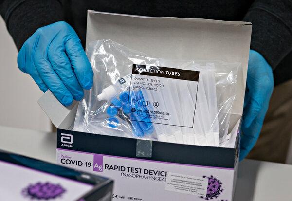 An Abbott Laboratories Panbio Covid-19 rapid antigen testing kit.