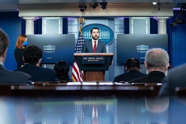 Brian Deese, the director of the White House's National Economic Council, speaking at a news conference at the White House this month.