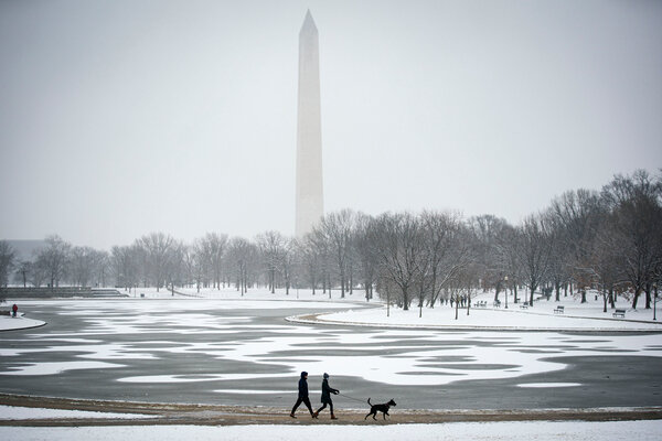 On the National Mall in Washington on Sunday, when the city had its biggest winter storm in two years.