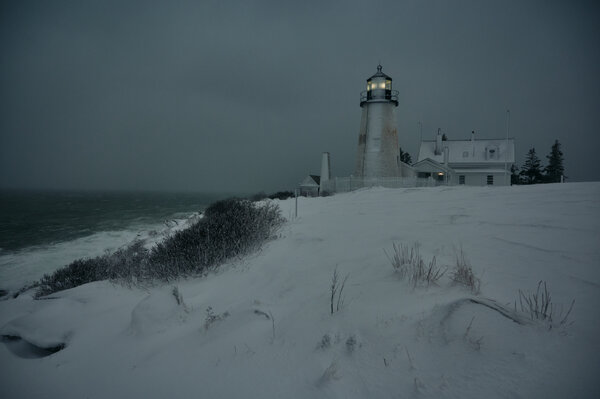 A winter storm brought high winds and snow to Pemaquid Point near Bristol, Maine, on Tuesday.