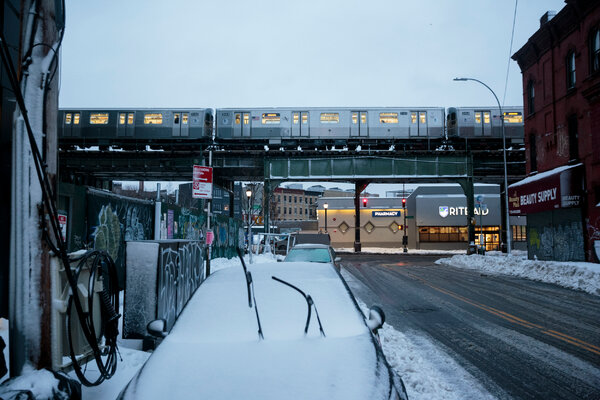 A subway train in Bushwick, Brooklyn, on Tuesday, a day after aboveground service was suspended because of the snow.