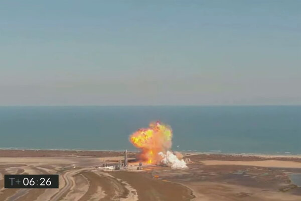 The starship SN9 prototype rocket exploded after taking off from a test flight in Boca Chica on Tuesday.