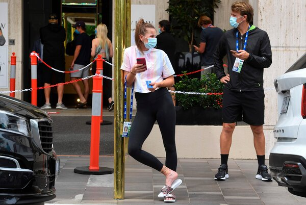 The Czech tennis player Marketa Vondrousova outside a hotel in Melbourne, Australia, on Thursday.