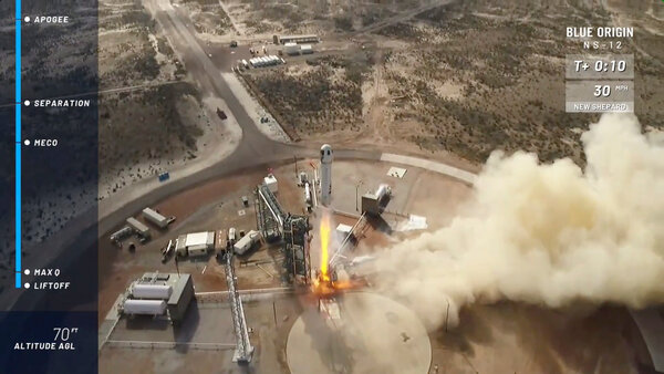A photo taken from the Blue Origin video of the New Shepard rocket launched near Van Horn, Texas in October.