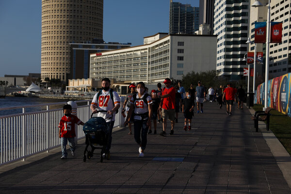 Fans of the Kansas City Chiefs strolled Tampa Riverwalk during leadup events for the Super Bowl.