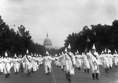 Ku Klux Klan members paraded down Pennsylvania Avenue in Washington in August 1925 to show their dominance and presence in American life.