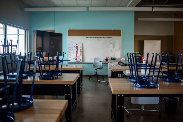 An empty classroom at Govalle Elementary School in Austin, Texas, in December.