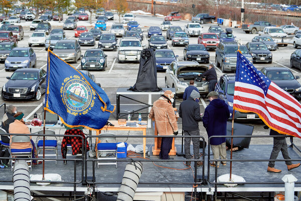 The New Hampshire State Legislature met in a drive-in session at the University of New Hampshire in Durham in January.