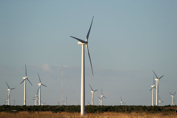 Wind turbines near Sweetwater, Texas. Gov. Greg Abbott claimed that the electricity blackout crisis in Texas was because wind and solar power failed. However, the chief cause of widespread loss of power was that natural gas production was stalled by the extreme cold.