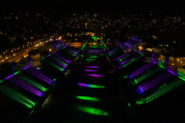 The Sambódromo in Rio de Janiero, normally the site of carnival parades, was lit on Friday in honor of victims of Covid.