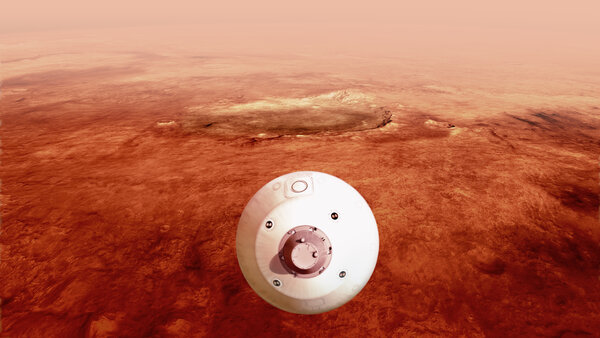 An artist's concept of the Perseverance rover descending through the Martian atmosphere to the surface. Hundreds of critical events had to execute perfectly and exactly on time for the rover to land safely.
