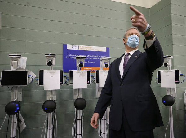 Gov. Charlie Baker of Massachusetts toured a sports arena in Worcester in December as it was being readied for use as a field hospital during a peak period of the pandemic.