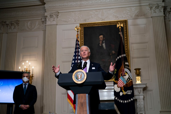 President Biden delivering remarks on the fight to contain the pandemic at the White House last month.