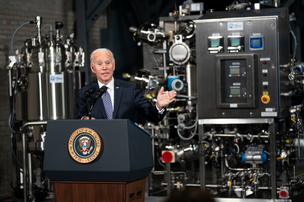 President Joe Biden touring the Pfizer manufacturing site in Kalamazoo, Mich., on Friday.