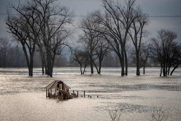 In March 2019, flooding in Burleview, Neb. Snowfall and heavy rain.