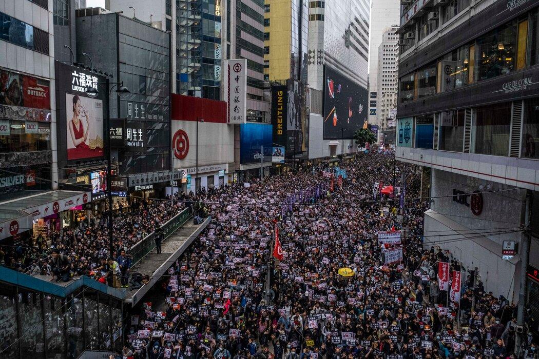 香港2020年1月的一次大规模抗议活动。