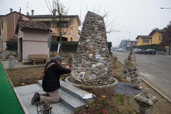 A memorial for victims of the coronavirus in Casalpusterlengo, Italy.