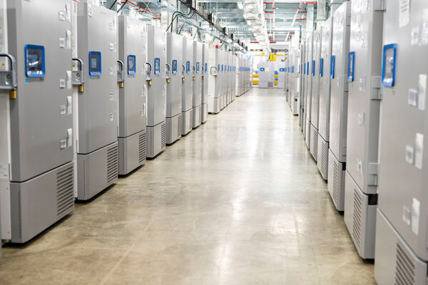Cold storage freezers with Covid-19 vaccines at the Pfizer Kalamazoo Manufacturing Site in Michigan.