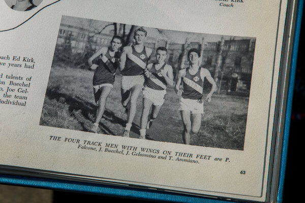 Mr. Ammiano is running for his high school team in a photo from his yearbook.