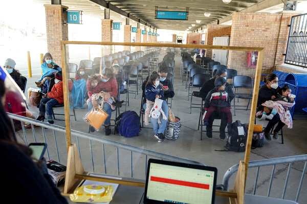 Upon release from Customs and Border Protection custody, families are dropped off at a bus station in Brownsville, Texas, where they are tested for the coronavirus.