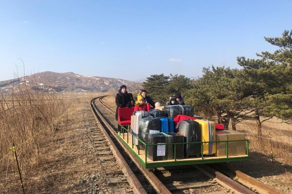 Several employees at Russia's embassy in North Korea left the country on a journey that included a trip on a hand-pushed railcar, the Russian Foreign Ministry said on Thursday.