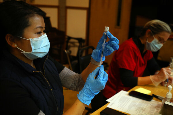 Vaccines were prepared at a community center in Rohnert Park, Calif., in January.