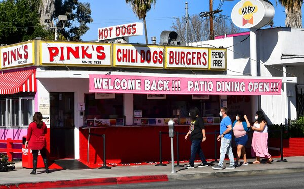 Pink's Hot Dogs in Los Angeles reopened on Monday after being closed for two months. The restaurant has been in business since 1939.