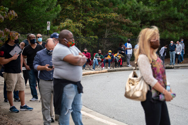 People waited in line to vote early at a community center in Suwanee, Ga., in October.