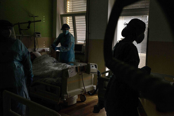 Treating a Covid-19 patient in the intensive care unit of a hospital in Stod, the Czech Republic, last week.